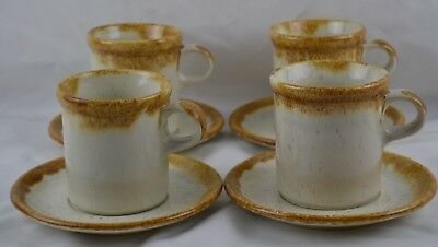 MCCoy Graystone Brown Drip Ivory Speckeled Vintage MCM Set 4 Mugs Saucers