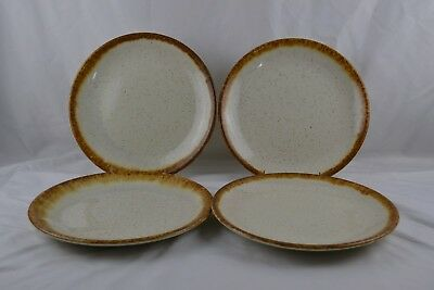 MCCoy Graystone Brown Drip Ivory Speckeled Vintage MCM Set 4 Dinner Plates #1