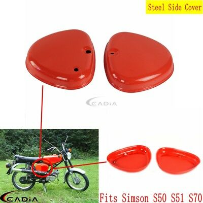 2Pcs Red Vintgae Steel Side Fairing Cover Box Intake Lid For Simson S51 S50 S70