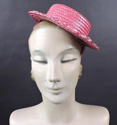 1940'S Miniature Red Straw Fascinator Hat For Dress