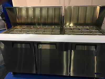 "New 72"" 3 Door Mega Sandwich Prep Unit With 30 1/6Th S/s Pans Casters Free Ship"