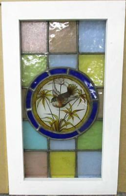 "VICTORIAN ENGLISH LEADED STAINED GLASS WINDOW Pretty Handpainted Bird 12"" x 20"""