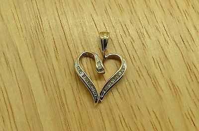10K Yellow  Gold Open Heart Pendant Charm Covered In Baguette Diamonds 0.60 Ctw