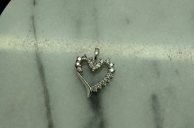 10K White Gold Open Heart Pendant Charm Covered In Round Diamonds 1/2 Ctw