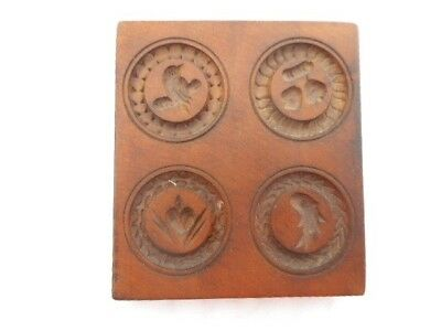 Antique Wood Butter Stamp Press Mold Four Designs