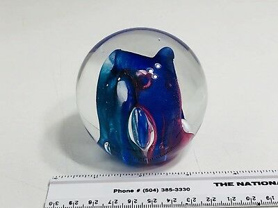 Beautiful Brightly Colored Vintage Glass Eye Studio Paperweight, MUST SEE!