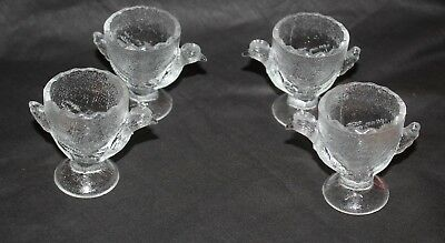 vintage glass egg cups CHICKEN HEN CHOOK  set x 4 vgvc