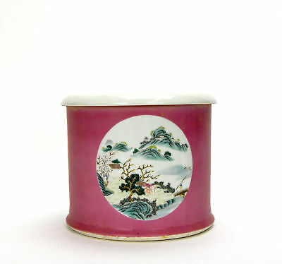 Antique Chinese Qing Famille Rose Medallion Landscape Porcelain Brush Pot