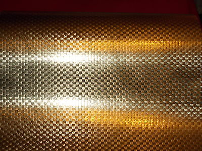 Vtg Christmas Store Wrapping Paper Gift Wrap Gold Textured Checked Foil 2 Yards