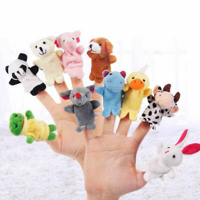 10Pcs Family Finger Puppets Cloth Doll Baby Educational Hand Cartoon Animal Toy>