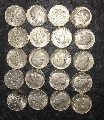 20 Roosevelt Silver Dimes AU-MS + 1 Day