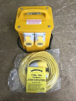 Worksafe 3.3 KVA Transformer Twin Socket With 14 Metre Cable