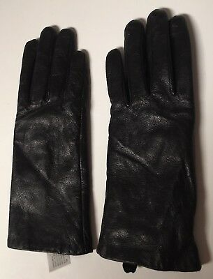NWOT Women's Black Leather Texting Touchscreen Gloves L/XL