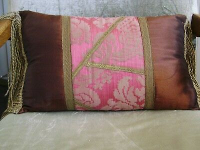Lovely Pillow Of Antique Textiles With Long Gold Metallic Caterpillar Fringes