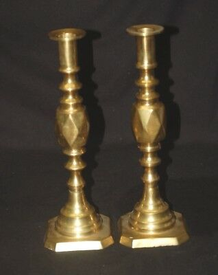 "Old Vintage Solid Brass Pair of Candlestick Holders Mantel Decor 10-5/8"" Tall"