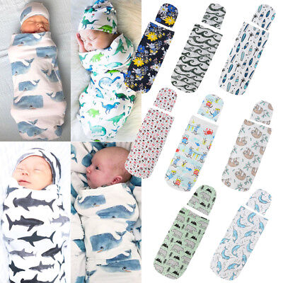 Canis Newborn Infant Baby Cartoon Sleeping Swaddle Blanket Muslin Wrap Hat Set