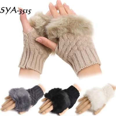 Women Winter Gloves Faux Rabbit Fur/Villi Arm Warmer Fingerless Khaki 01
