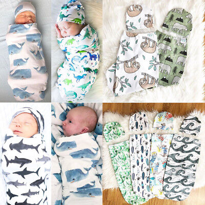 AU Stock Cotton Infant Blanket Swaddle Muslin Wrap Swaddling Sleeping Bag +Hat