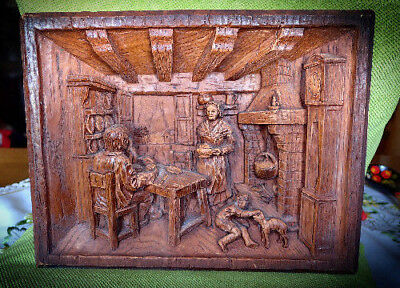 Antique Black Forest Handcarved Farm Kitchen Motif Wall Decor circa 1910-1930s