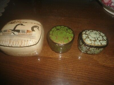 3 Pretty Vintage  Paper Mache Box's with Lid's
