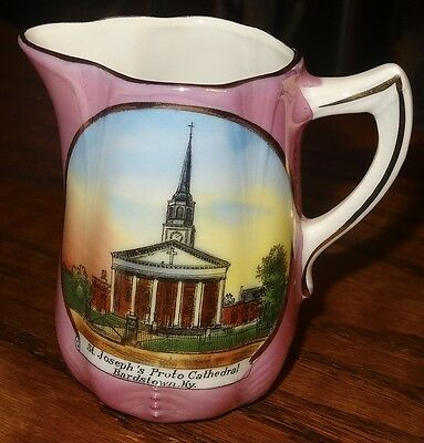 Bardstown Kentucky St. Joseph Proto-Cathedral souvenir pitcher Jonroth ca. 1920s