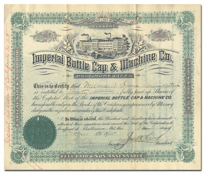 Imperial Bottle Cap & Machine Company Stock Certificate (Signed by Jacob Hook)