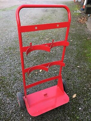 Double Red Fire Extinguisher Trolley