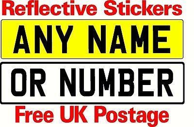 STICK ON NUMBER PLATE SIZED STICKERS ANY TEXT AVAILABLE novelty work parking etc
