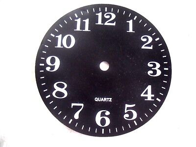 New Black Quartz Clock Face Dial With White Modern Numbers, 14cm Diameter Card.
