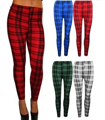New Women's Stylish Tartan Print Leggings New Check Print Trousers Tartan Paints