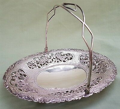 Fine antique Chinese marked Silver Dish with Handle and piercework