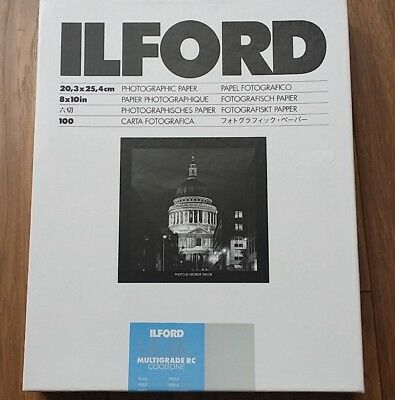 """OLD STOCK Ilford MGRC cool tone 8"""" x 10"""" paper 100 sheets (unopened)"""