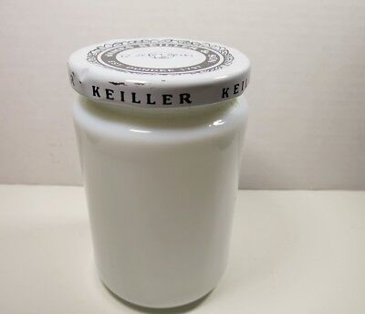 Vintage James Keiller & Son Est. Dundee 1797 Milk-Glass Jar w/ Lid