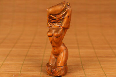 chinese Super crazy strip off Girl Boxwood  Hand carved statue big netsuke
