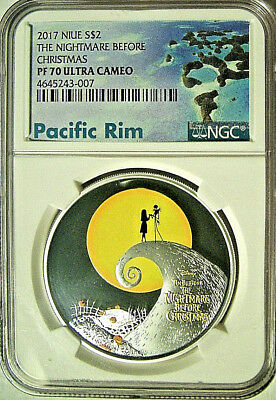 2017 Niue $2 The Nightmare Before Christmas Silver Proof  NGC PF70 UC - Mint Box