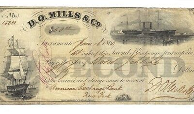 D.o. Mills & Co Second Of Exchange --1860