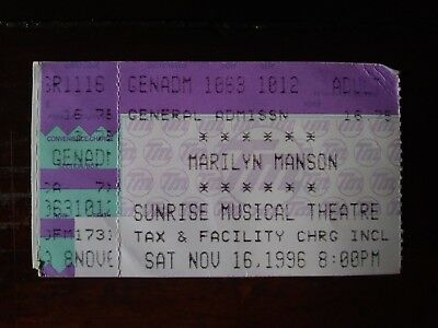 MARILYN MANSON ticket stub Ft Lauderdale, FL 11/16/1996 DEAD TO THE WORLD Tour