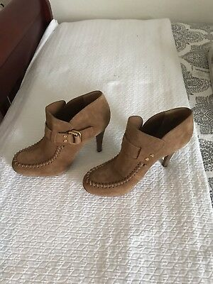Tory Burch Designer Tan Brown Suede Leather Booties Boots Shoes Heels~10 M~Euc