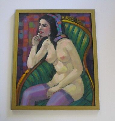 Dick Morgan Painting On Board Vintage Nude Original Illustration Female Woman