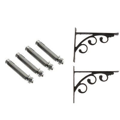 2x Strong Metal Wall Shelf Support Bracket Rack Supporter with Screw 12x15CM
