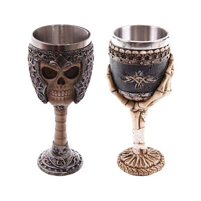 2pcs Gothic Tribal Warrior Knight Skull 200ml Coffee Mug Bone Palm Goblet