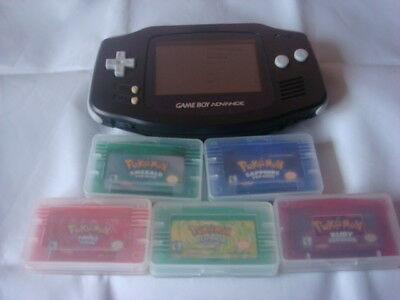 Nintendo Game Boy Advance Black with 5 pokemon games great condition