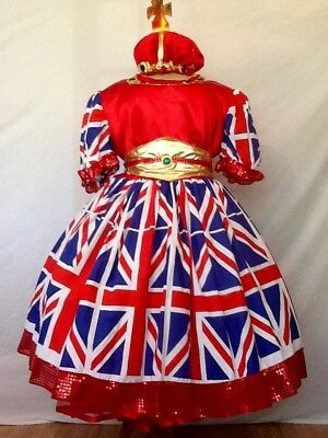 Union Jack Pantomime Dame Costume Theatre Stage Panto Outfit New
