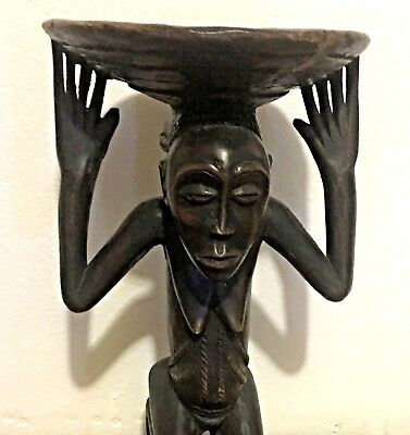 Antique Kneeling Female African Luba Carved Wood Sculpture Divination Bowl 16""