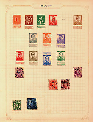 early 1900s stamp album page of stamps from belgium !