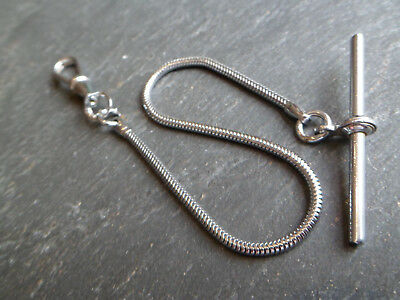 Vintage Silver or Chrome Plated Albert Pocket Watch Chain + T-Bar and Dog Clip