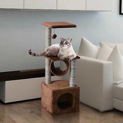 "41"" Cat Tree Condo Scratching Tower Kitty Play House Brown"
