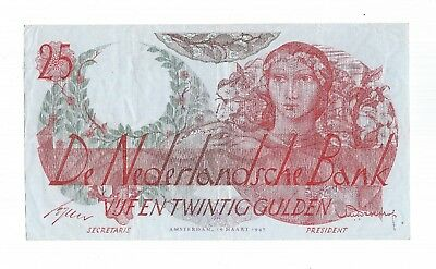 Netherlands 25 Gulden 1947 Flora P81  /  PL66 Error in serial number 1/I Rare !