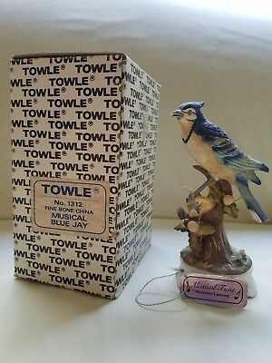 Towle Fine Bone China Musical Blue Jay with original box and working music box