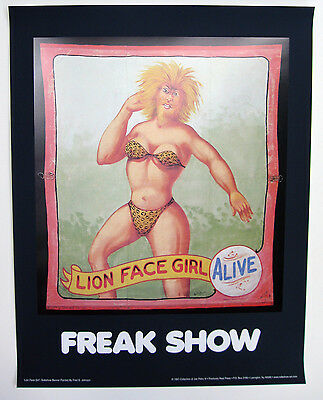 """Lion Face Girl"" - Freak Poster Fred Johnson Circus Sideshow Banner - Freak Show"